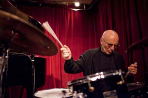 Paul Motian performing with pianist Dan Tepfer, at the Cornelia Street Cafe in Manhattan Feb 2011   John Rogers
